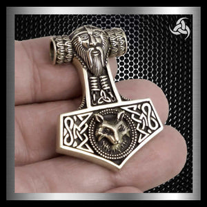 Thors Hammer Viking Wolf Fenrir Pendant Norse Bronze - Sinister Silver Co.