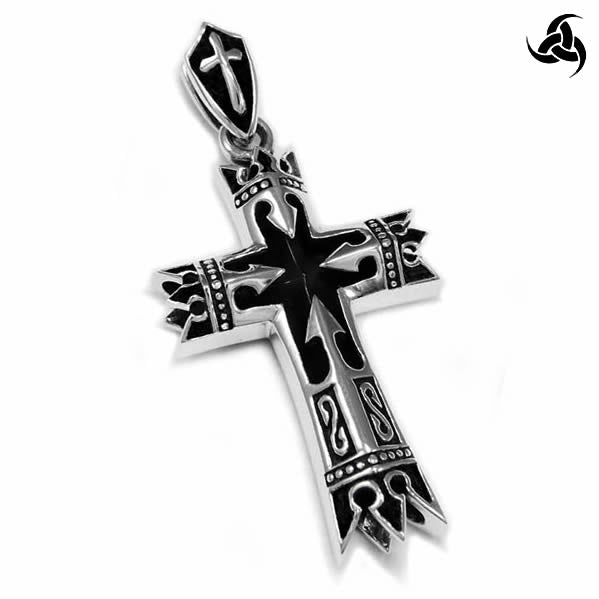 Medieval Renaissance Bishop Or Knights Cross Pendant Sterling Silver Jewelry