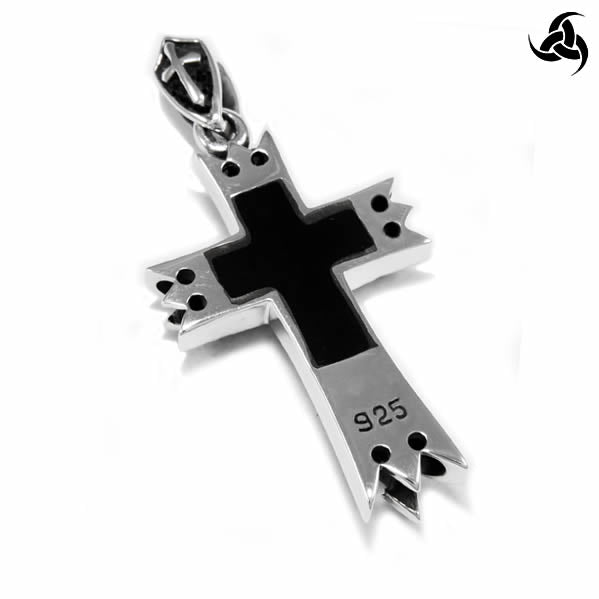 Medieval Renaissance Bishop Or Knights Cross Pendant Sterling Silver Jewelry - Sinister Silver Co.