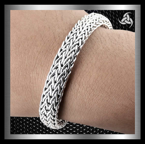 Sterling Silver Biker Bracelet Viking Dragon Weave - Sinister Silver Co.
