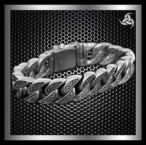 Men's Biker Bracelet Engraved Curb Link Chain Sterling Silver By Sinister Silver Co.