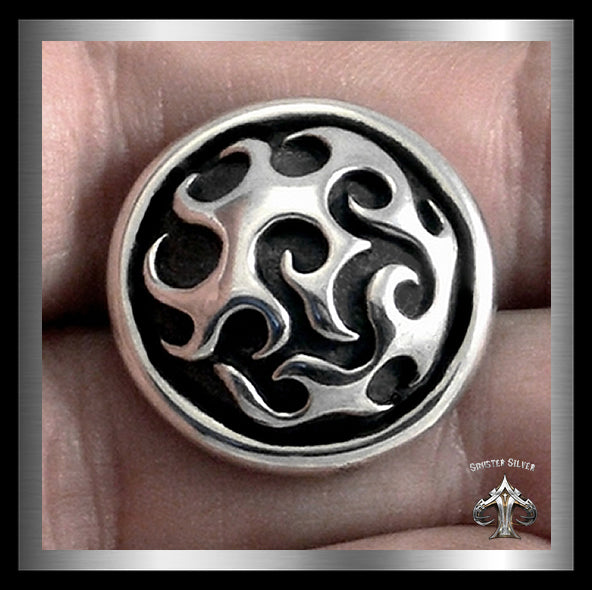 Sterling Silver Classic Custom Flames Concho - Sinister Silver Co.