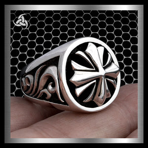 Mens Biker Ring Maltese Templar Cross Sterling Silver Size 9 to 11 - Sinister Silver Co.