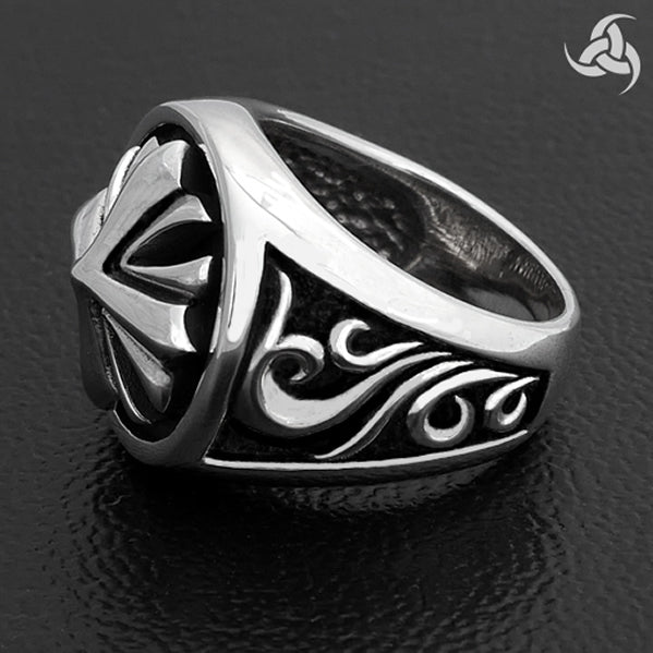 Iron Cross Medieval Crusader Cross Mens Ring Sterling Silver Size 9