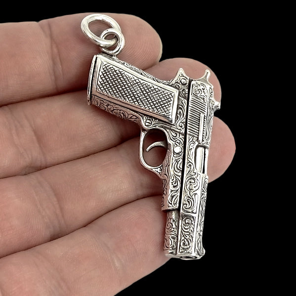 Engraved Colt 1911 Automatic Gun Biker Pendant Solid Sterling Silver