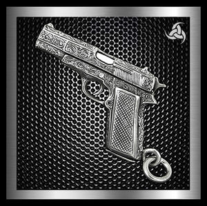 Biker Gun Pendant Engraved Colt 1911 Automatic Solid Sterling Silver - Sinister Silver Co.