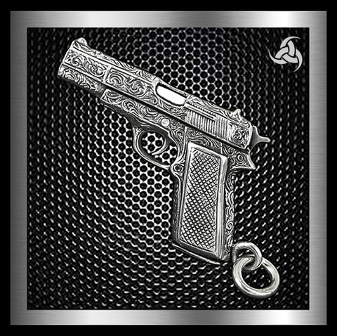 Colt 1911 Engraved Gun Pendant Solid Sterling Silver By Sinister Silver Company