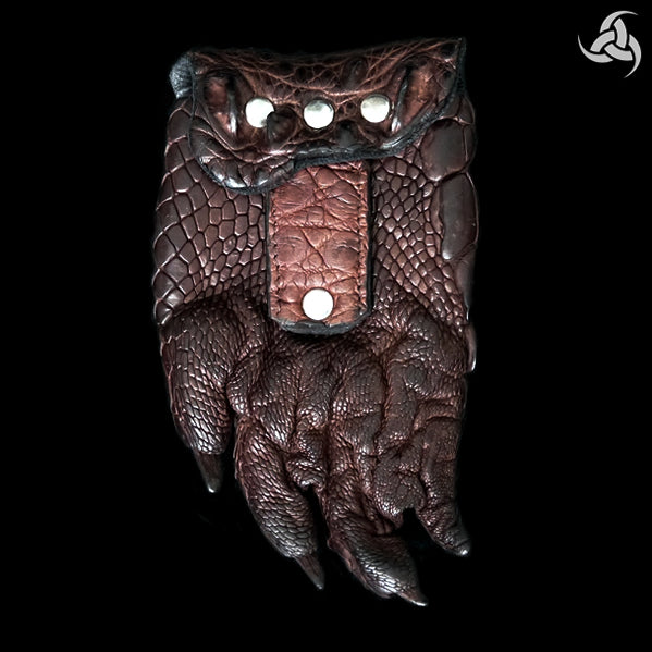 Rare One Of A Kind Horn Back Crocodile Paw Custom Belt Pouch Brown - Sinister Silver Co.
