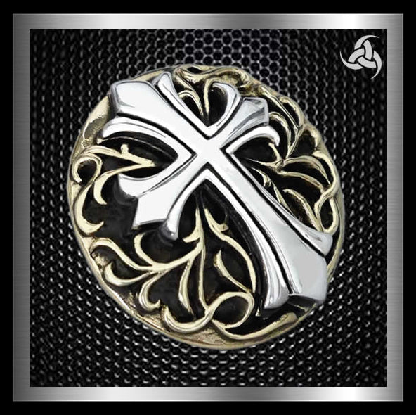 Knights Templar Cross Concho Snap Cover Gold Brass Sterling Silver - Sinister Silver Co.