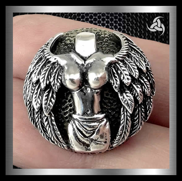 Winged Venus Snap Cover Concho Sterling Silver Screw Back - Sinister Silver Co.
