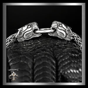 Heavy Sterling Silver Mens Double Tiger Bracelet Viking Weave - Sinister Silver Co.