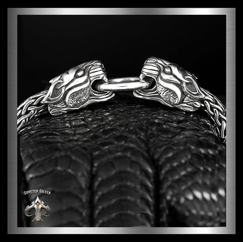 Heavy Sterling Silver Mens Double Tiger Bracelet Viking Weave SOLD - Sinister Silver Co.