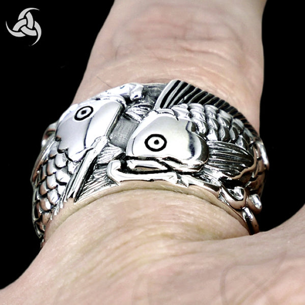 Biker Ring Japanese Koi Carp Asian Mythology Fish Sterling Silver - Sinister Silver Co.