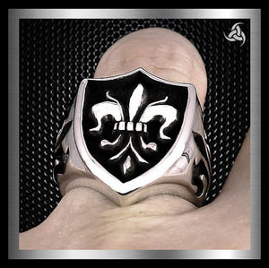Heavy Mens Triple Fleur De Lis Ring 25 Gram Sterling Silver Size 8 at SinisterSilverCo