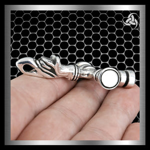 Viking Norse Icelandic Dragon Thors Hammer Pendant Heavy Sterling Silver At Sinister Silver Co.