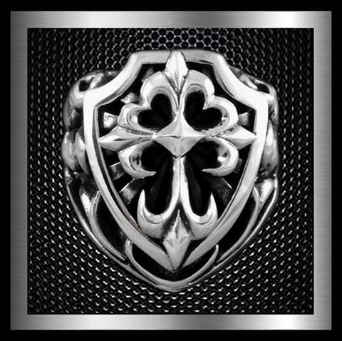 Heavy Medieval Celtic Cross Shield Mens Ring Sterling Silver Size 9.25 At SinisterSilverCo