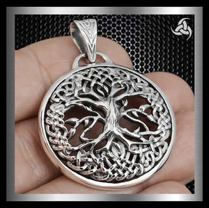 Celtic Knotwork Viking Yggdrasil Tree Of Life Pendant Sterling Silver - Sinister Silver Co.