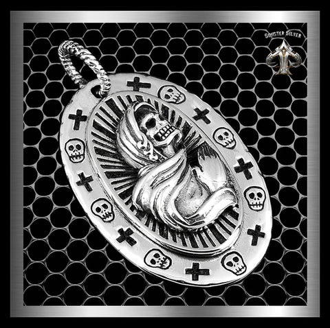 Santa Muerte Mexican Saint Of Death Pendant Sterling Silver Amulet - Sinister Silver Co.