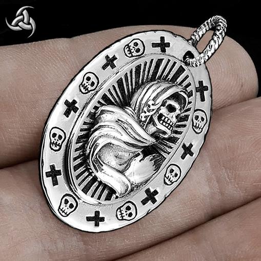 Santa Muerte Mexican Saint Of Death Pendant Sterling Silver Jewelry - Sinister Silver Co.