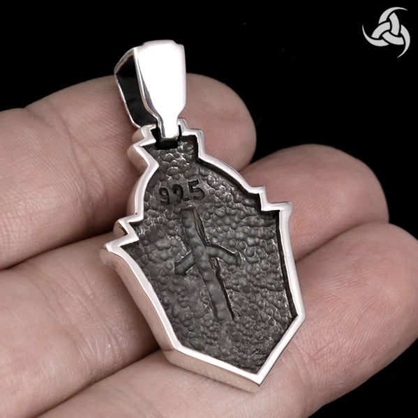 Biker Pendant Dragon Sword Dog Tag Style Sterling Silver - Sinister Silver Co.
