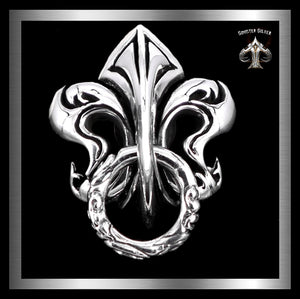 Fleur De Lis Wallet Chain Connector Concho Sterling Silver - Sinister Silver Co.