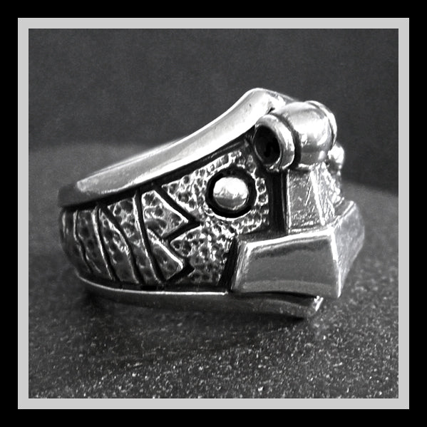 Sinister Silver Co. Rustic Viking Thors Hammer Ring Sz-9.25