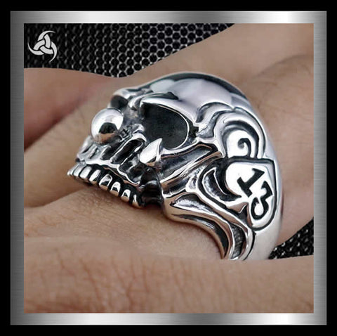 Mens Biker Clown Skull Ring 13 Of Spades Sterling Silver Size 8 to 10 - Sinister Silver Co.