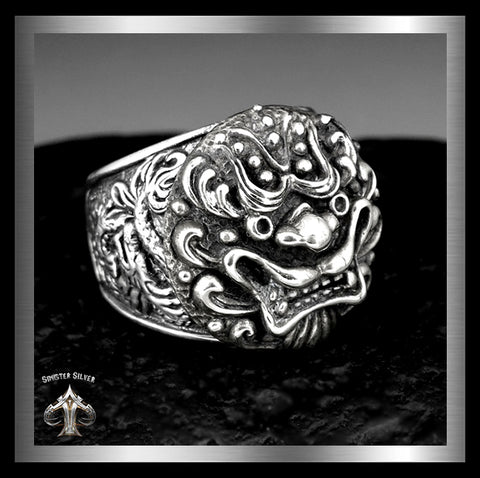 Sterling Silver Japanese Foo Lion Dragon Tiger Shisa Dog Biker Ring By Sinister Silver Co.