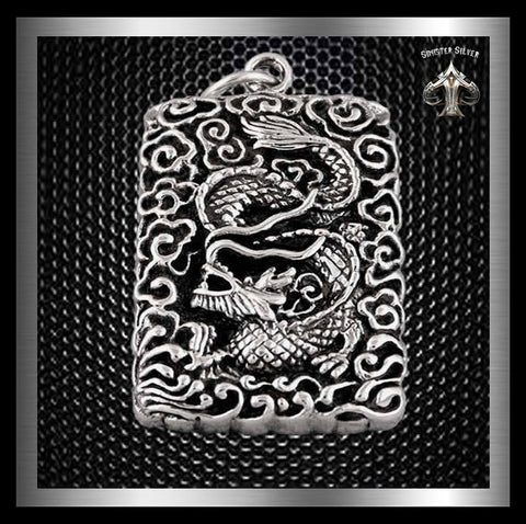 Japanese Mythology Dragon Guardian Dog Tag Pendant Sterling Silver At Sinister Silver Co.