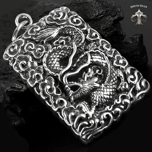 Japanese Mythology Dragon Guardian Dog Tag Pendant Sterling Silver - Sinister Silver Co.