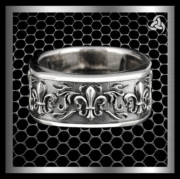Mens Biker Ring Five Fleur De Lis Band Sterling Silver Size 8 to 10.25 - Sinister Silver Co.