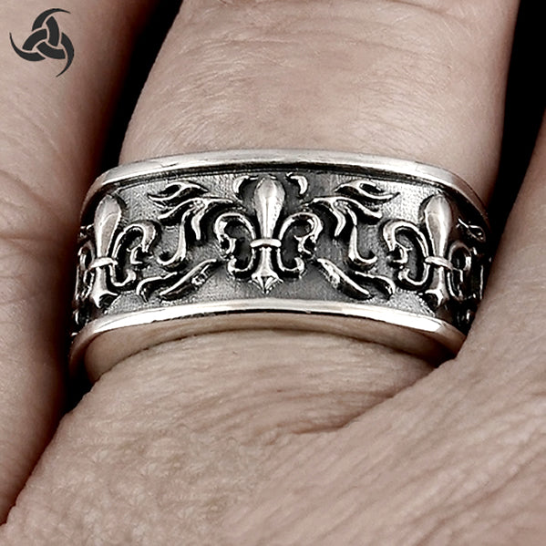 Mens Heavy Multiple Fleur De Lis Band Ring Sterling Silver Size 8
