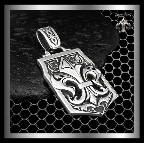 Huge Dog Tag Pendant Medieval Fleur De Lis Design 925 Sterling Silver - Sinister Silver Co.