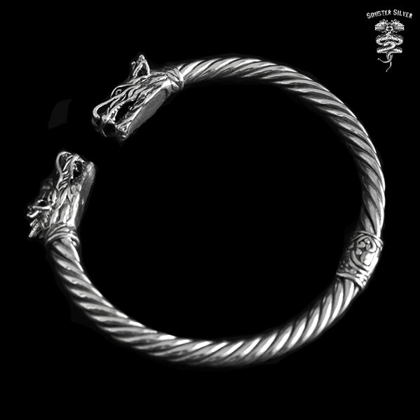 Sterling Silver Viking Dragon Torc Cuff Bracelet - Sinister Silver Co.