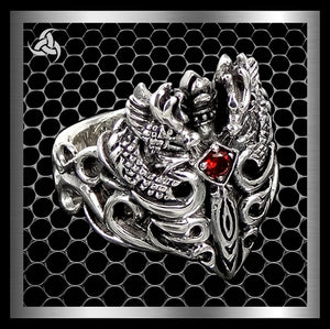 Mens Viking Ring Medieval Dragon Sword Sterling Silver Size 9.5 - Sinister Silver Co.