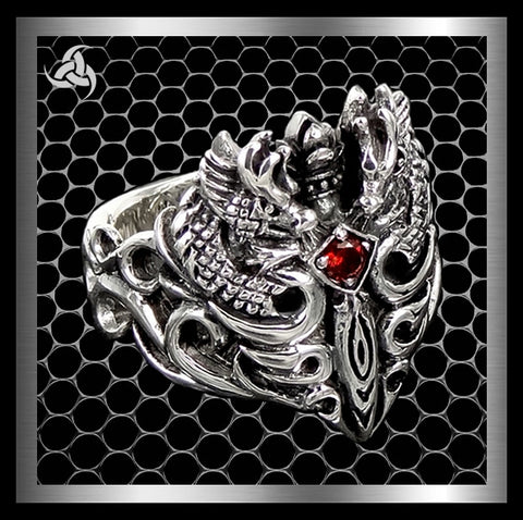 Viking Medieval Double Dragon Mens Ring Sterling Silver Size 9.5