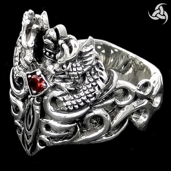 Mens Viking Ring Medieval Dragon Sword Sterling Silver Size 9.5