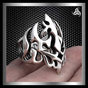 Mens Biker Ring Neptunes Trident Poseiden Sterling Silver Sz 8 to 14 - Sinister Silver Co.