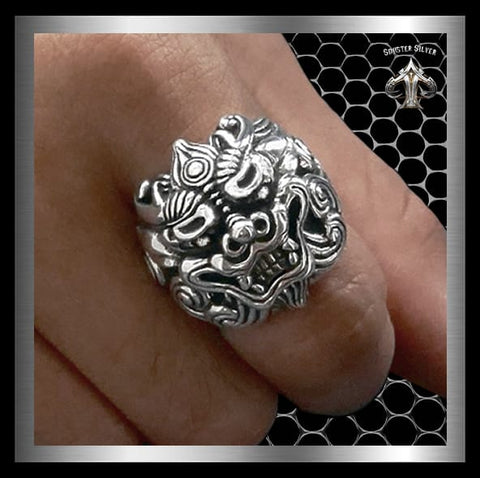 Sterling Silver Foo Lion Foo Dog Biker Ring - Sinister Silver Co.