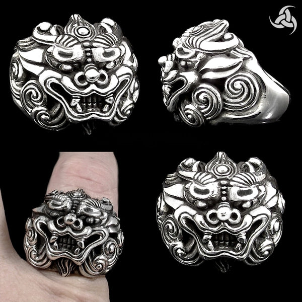 Sterling Silver Japanese Foo Lion Shisa Dog Biker Ring - Sinister Silver Co.