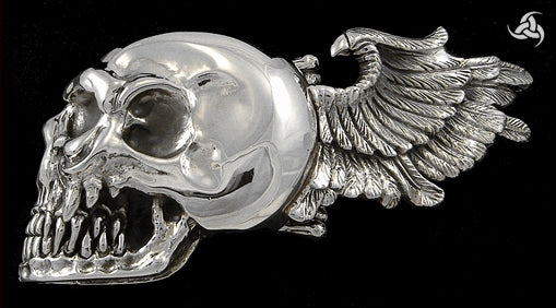 Sterling Silver 5 Oz Winged Skull Biker Belt Buckle - Sinister Silver Co.