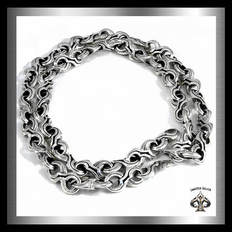 Sterling Silver Mens Heavy Tribal Link Biker Necklace 1 - Sinister Silver Co.