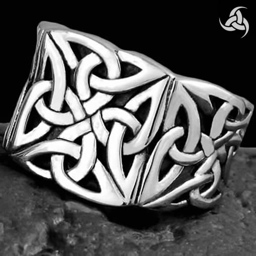 Mens Biker Ring Horns Of Odin Trinity Sterling Silver Size 9.75 to 11.25 - Sinister Silver Co.