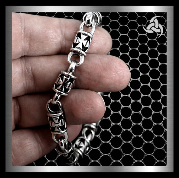 "Mens Biker Bracelet Maltese Cross Link Sterling Silver 8"" to 9.5"" - Sinister Silver Co."