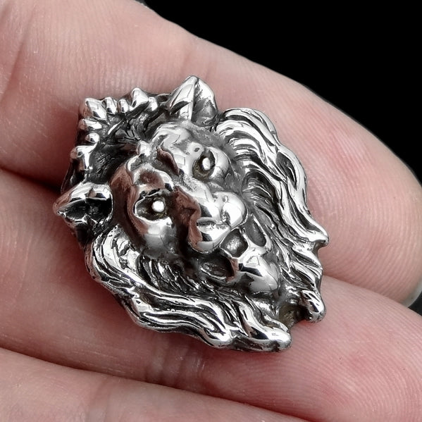 Majestic Lion Concho Snap Cover Sterling Silver Screw Back - Sinister Silver Co.