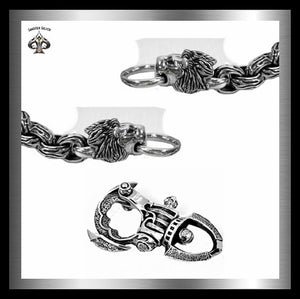 Sterling Silver Biker Lion Flame Link Wallet Chain - Sinister Silver Co.