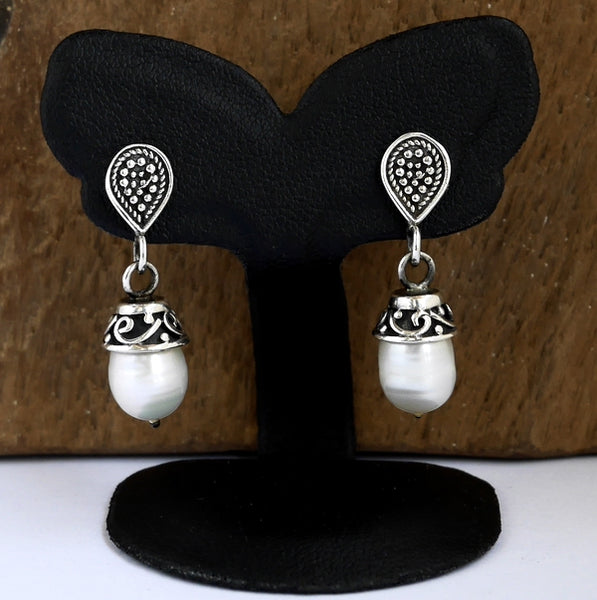 White Pearl Earrings Arabesque Design 1-Pair Sterling Silver Jewelry - Sinister Silver Co.