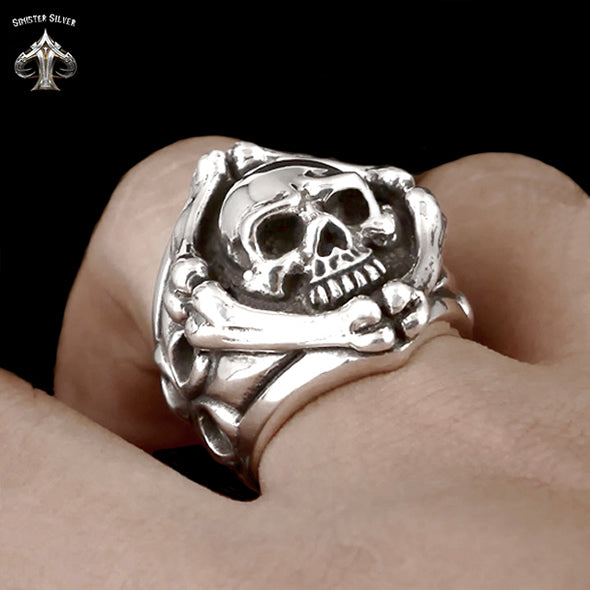Sterling Silver Biker Ring Skull And Crossbones - Sinister Silver Co.