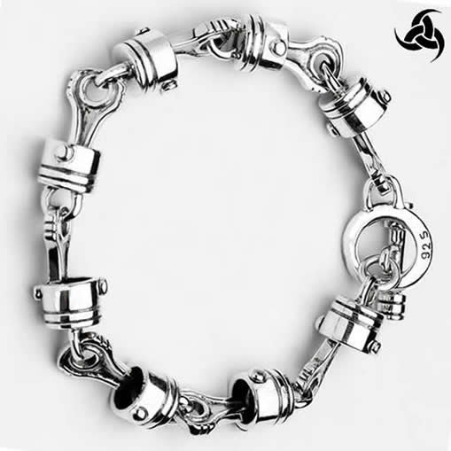 Mens Biker Motorcycle Piston Bracelet Sterling Silver 8 to 9.5 Inch