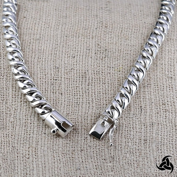Curb Chain Necklace Biker Cuban Chain Sterling Silver Fancy Link 20""